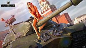 Картинки Танк World of Tanks Nikita Bolyakov Российские IS-3 Игры Девушки