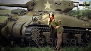 Картинки Танки WOT M4 Шерман Американская Nikita Bolyakov Рыжие Игры Девушки
