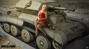 Картинки WOT Танки Британский Nikita Bolyakov Красивые Cruiser III Девушки