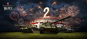 Картинка WOT Танки Фейерверк Немецкий Российские Американские Blitz Игры