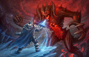 Фотографии World of WarCraft Diablo Heroes of the Storm Битвы Воины Чудовище Демоны Мечи Когти Arthas, Diablo Игры Фэнтези