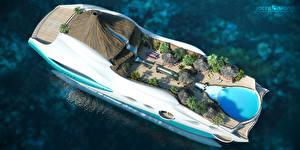 Фотографии Яхта Оригинальные Сверху Дорогие Бунгало Вулкан Superyacht, Futuristic, Yacht-island tip 2 3D Графика