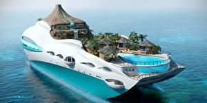 Фотографии Яхта Оригинальные Роскошные Бунгало Вулкан Superyacht, Futuristic, Yacht-island tip 3 3D Графика