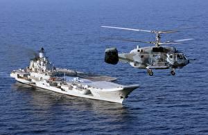Фото Авианосец Вертолет Корабль Российские Ka-29 Helix-B Admiral Kuznetsov Авиация Армия