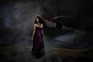 Картинка Ангелы Готика Фэнтези Брюнетки Ночь Фантастика Девушки