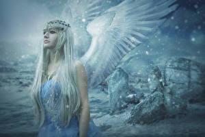 Фото Ангелы Крылья Фантастика Девушки