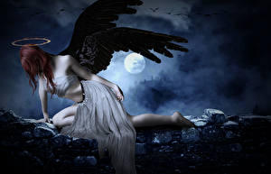 Фотография Ангелы Крылья Нимб Ночные Луна Фантастика Девушки