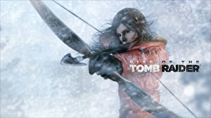 Картинки Лучники Воины Rise of the Tomb Raider Лара Крофт Лук оружие Стрела Девушки