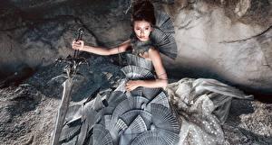 Фотографии Азиаты Воины Косплей Мечи Девушки