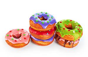 Фото Выпечка Пончики Сахарная глазурь Белый фон Продукты питания