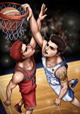 Фотографии Баскетбол Вдвоем Мяч Прыжок Парни Sakuragi vs Pingris