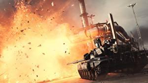 Картинки Battlefield 4 Танки Взрывы Российские компьютерная игра Армия 3D_Графика