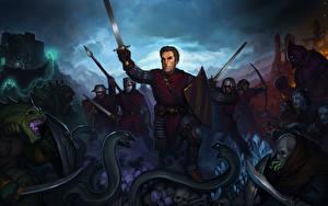 Фото Сражения Воители Змеи Мечи С щитом Фантастика