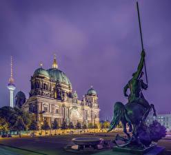 Картинки Берлин Германия Храмы Памятники Вечер Собор