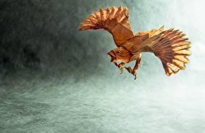 Фотографии Птицы Оригами Бумага Животные