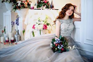 Фотографии Букеты Шатенка Свадьба Платье Девушки