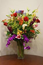Обои Букеты Розы Орхидеи Ваза