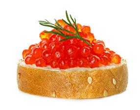 Обои Бутерброды Морепродукты Икра Хлеб Вблизи Белый фон