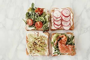 Фото Бутерброды Овощи Рыба Хлеб Редис Томаты
