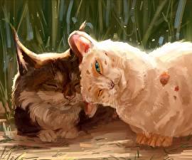 Картинка Кошка Рисованные 2 Милые животное