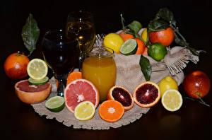 Картинки Цитрусовые Сок Лимоны Грейпфрут Апельсин Стакана Бокалы Еда