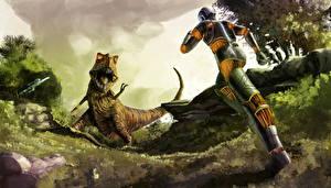 Обои Динозавры Робот Оскал Фантастика