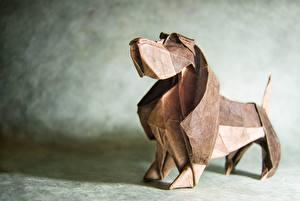 Фотографии Собаки Бумага Бассет хаунд Оригами Животные