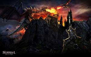 Картинка Драконы Воин Замок Пламя Stormfall: Age of War Игры Фэнтези