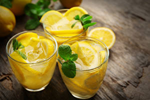 Картинки Напитки Лимоны Лимонад Стакан Листья Мяты Пища