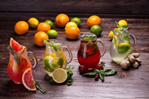 Фотографии Напиток Лимоны Клубника Лимонад Грейпфрут Кувшины