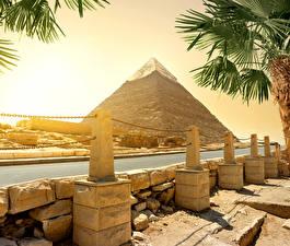 Фотографии Египет Пустыня Реки Камни Пирамиды Cairo Природа