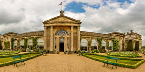 Картинка Англия Здания Скамейка Bowood House Wiltshire Города