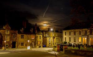Картинки Англия Здания Улица Ночные Уличные фонари Lincoln