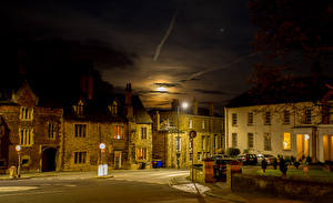 Картинки Англия Здания Улице Ночью Уличные фонари Lincoln Города