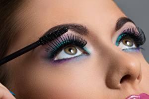 Фотографии Ресницы Глаза Мейкап Красивые Смотрит Нос девушка