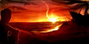 Фотографии Фантастический мир Берег Рассветы и закаты
