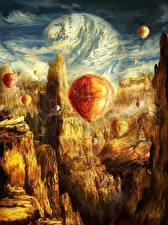 Фотография Фантастический мир Горы Аэростат Фантастика