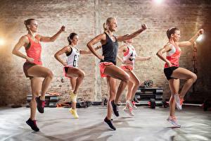 Фотография Фитнес Тренировка Ноги Девушки Спорт