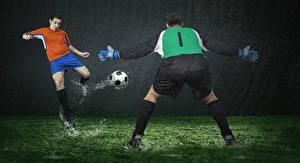 Фотография Футбол Мужчины Дождь Вратарь в футболе Вдвоем Униформа Мячик