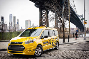 Фотографии Форд Такси - Автомобили Желтый Металлик 2017 Transit Connect Hybrid