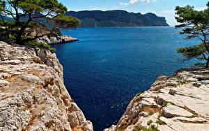 Картинки Франция Берег Залив Утес Calanque Port Miou Provence