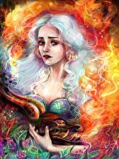 Картинка Игра престолов (телесериал) Рисованные Emilia Clarke Дейенерис Таргариен Блондинка Девушки Фэнтези