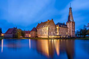 Фотографии Германия Замки Пруд Вечер Raesfeld Города