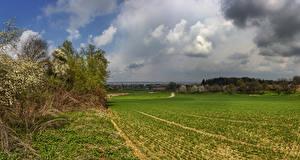 Картинка Германия Поля Бавария Облака Schoenbach Природа