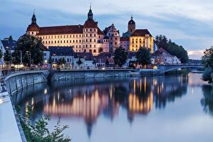 Обои Германия Дома Реки Вечер Мосты Neuburg Города