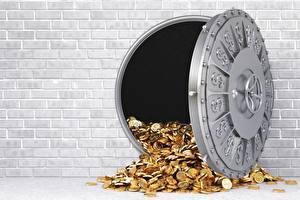 Фотография Золото Монеты Банк Из кирпича Стенка Сейф
