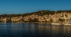 Картинки Греция Дома Море Причалы Берег Skopelos Города