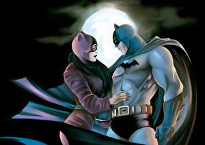 Фотографии Герои комиксов Бэтмен герой Женщина-кошка герой В ночи Луны Двое Плаще Фантастика Девушки