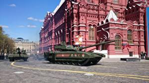 Картинки Праздники День Победы Военный парад Танки Русские T-14 Armata