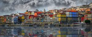 Фото Здания Берег Речка Португалия Портус Кале Douro River Города